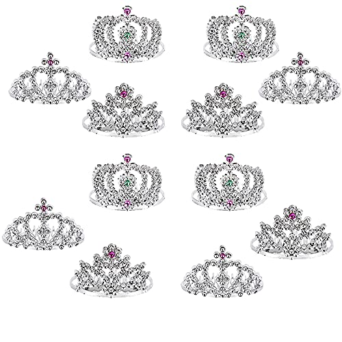 """Mini Princess Tiara Crown with Hair Comb, Princess Party Favor, Girls Hair Clips Decoration and Accessories 2""""(12-pack)"""