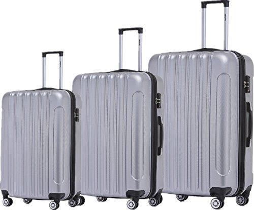 BEIBYE TSA Schloß 2050 Hartschale Trolley Koffer Reisekoffer in M-L-XL-Set (Silber, Set)