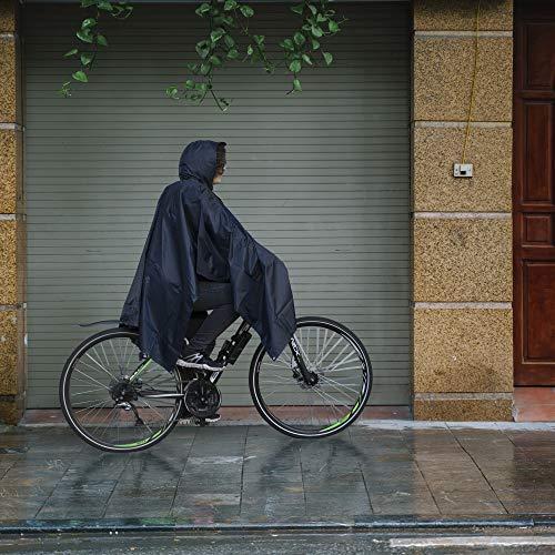 HINRI Fahrrad Regenponcho blau | Unisex (Herren/Damen) + Gratis Tasche | + Gratis Reiseführer – Mit verschließbaren Seiten + Kapuze (blau) - 4