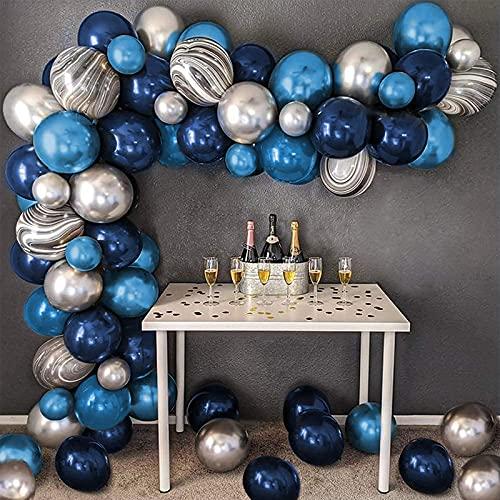 Arco Para Globos, Azul Kit de guirnaldas con globos,Globos Azul Marino,Metálicos Plata...