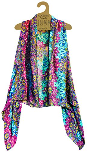 Accents by Lavello Sheer Designer Vest, Rose/Turquoise Persian Print