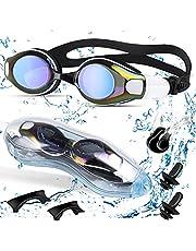 Oziral Zwembril voor volwassenen, uniseks zwembril, geen lekken, anti-condens, uv-bescherming, zwembril met neusclip en oordopjes voor mannen en vrouwen