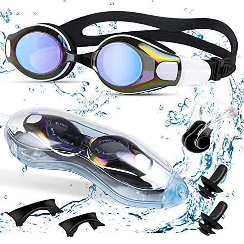 Oziral Schwimmbrille für Erwachsene Keine Auslaufen Anti Beschlag UV-Schutz Schwimmbrille Brille mit Nasenclip und Ohrstöpsel für Männer und Frauen Unisex