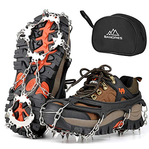 BANORES Traction Cleats Ice Snow Grips with 20 Stainless Steel Spikes for Walking Jogging Climbing Fishing and Hiking