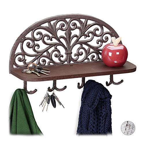 Relaxdays Wandgarderobe mit Ablage, Antik Design, 4 Doppelhaken, Schlüsselbrett, Gusseisen, HBT: 23x39x11,5 cm, braun, 1 Stück