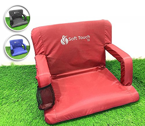 Soft Touch Extra Wide Stadium Seats for Bleachers | Stadium Chairs for Bleachers with Back Support | Bleacher Seats with Backs and Cushion … (Aurora Red)