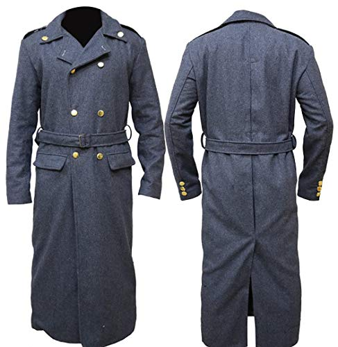 HiFacon The Jasperz Doctor Who Captain Jack Harkness John Barrowman Trenchcoat, lang, Grau Gr. L, Grau – Doctor Who Trenchcoat