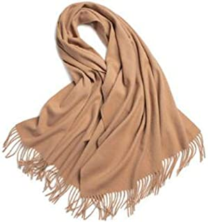 Solid Wool Scarf with Stripes at Both Ends, Comfortable and Breathable, Enhanced Thermal Insulation and Softness, Suitable for Party Travel