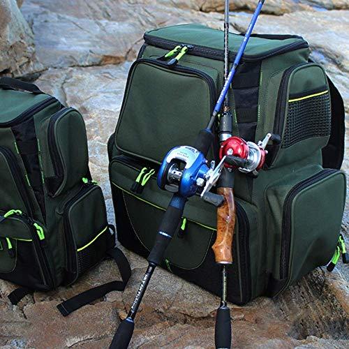 1yess Tragbare Angelrolle Aufbewahrungstasche, Angelgerät Tasche, Angelgerät Aufbewahrungstasche, Angeltasche große Kapazitäts-Multifunktionsrucksack Outdoor Angeln Taschen Tackle Carp Fishing Tackle