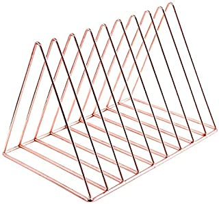 Triangle File Folder Racks and Magazine Holder,10 Section Metal Newspaper Holder Magazine File Storage for Office Home Decoration,Rose Gold By Cq acrylic
