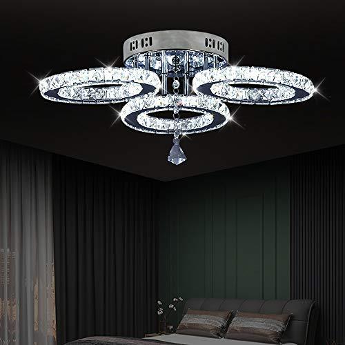 LED cristallo Design Lampada A Sospensione Anelli lampada a sospensione lampadario creativo Applique da soffitto in stile moderno (3 rings Cool White)