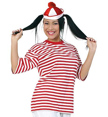 KarnevalsTeufel Kurzarm Ringel-Shirt rot/weiß | 100% Baumwolle, Größe M - XXL | Karneval, Fasching, Matrose, Freche Göre, Clown (XX-Large)