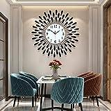 ANMIKI Metal 23.6 inch Black Drop Wall Clock 3D Non-Ticking Silent Quartz Clocks,White Glass Dial with Arabic Numerals,Diamond Round Home Decoration