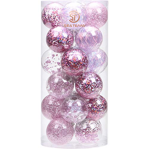 Sea Team 70mm/2.76' Adornos Variados Transparentes Bolas de Navidad,Decoraciones Ornamentales Resistente.para Colgar en el árbol de Navidad,Paquete de Regalar Portátil Set de Navidad(24pcs)