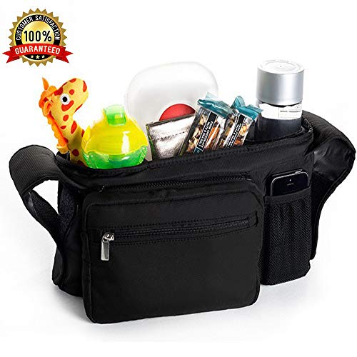 Baby Stroller Organizer, Extra Large Capacity Stroller Accessories with Waterproof Leakproof Cup Holder, Detachable Baby Travel Accessories, Storage Bag for All Kinds of Universal Baby Strollers