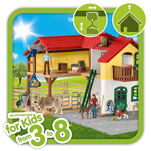 Schleich 42407 Farm World Spielset - Bauernhaus mit Stall und Tieren, Spielzeug ab 3 Jahren