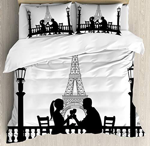 ABAKUHAUS Romantisch Dekbedovertrekset, Paar in Dinner Parijs, Decoratieve 3-delige Bedset met 2 Sierslopen, 230 cm x 220 cm, Zwart wit
