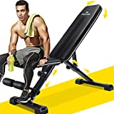MaxKare Weight Bench Adjustable Foldable Incline Decline Bench, 882lbs Capacity, 7+3+2 Positions Automatic Lock Multi-Purpose Workout Exercise Bench for Home Gym