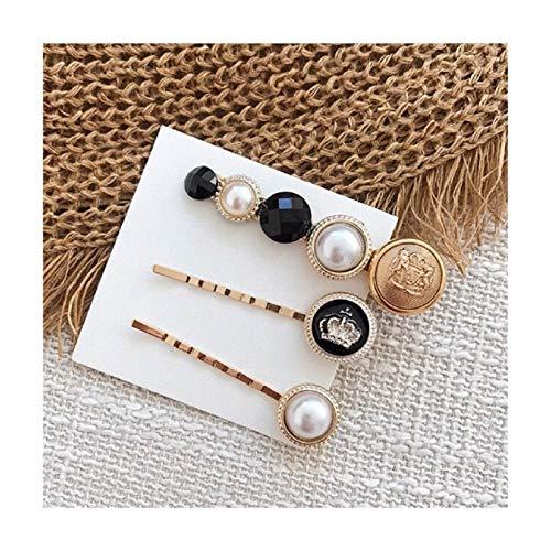 Ddcjc 3 Pcs/Set Button Imitiation Pearl Hair Clips Metal Heart Star Hairpins Girls Barrette Hairgrip Accesorios For El Cabello Pretty (Color : F)