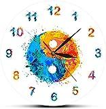 Wjchao Reloj De Pared Atercolor Yin Yang Símbolo Boho Lámina Reloj De Pared Armonía Y...