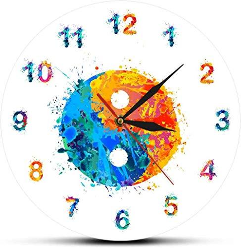 Wjchao Reloj De Pared Atercolor Yin Yang Símbolo Boho Lámi