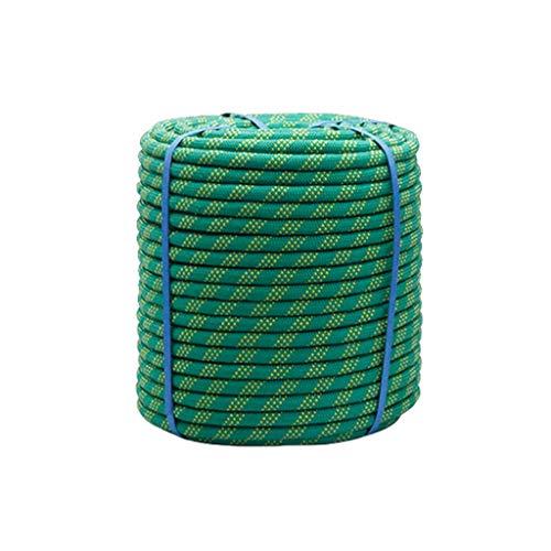 Cuerda de Seguridad Escalada Verde Nylon De Seguridad De Cordón 10mm/12mm/14mm/16m, Cuerda De Escalada Para Exteriores 10m-100m, Con 2 Mosquetón, Para Usos Al Aire Libre Supervivencia Emergencia, Camp