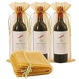 30 bolsas de vino de organza, bolsa de regalo de botella de vino de 30 x 16 1/3...