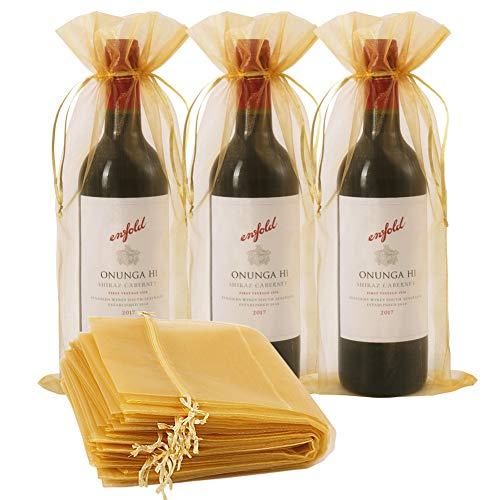 30 bolsas de vino organza, 30 unidades de 14 1/3 x 6 1/3 pulgadas botella de vino bolsa de regalo con cordón para bodas, cumpleaños, fiestas, regalos, decoración (dorado, 750 ml)