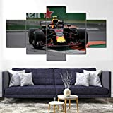 IIIUHU 5 Piezas Cuadro sobre Lienzo De Fotos MAX Verstappen Red Bull RB14 F1 Lienzo Impresión Cuadros Decoracion Salon Grandes Cuadros para Dormitorios Modernos Mural Pared Listo para Colgar