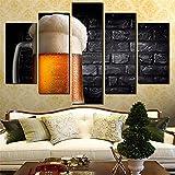 Cuadro sobre Lienzo para Pared, 5 Paneles, Cuadro artístico, Pintura sobre Lienzo para Sala de Estar, Cartel de Cerveza nostálgico, decoración Moderna del hogar-40x60x80cm
