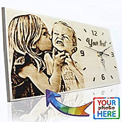 OmgGift Personalized Gifts Wood Burned Photo Clock Custom Gifts for Anniversary Farmhouse Wood Decoration (Small 6.3 x 11.8 Inch)