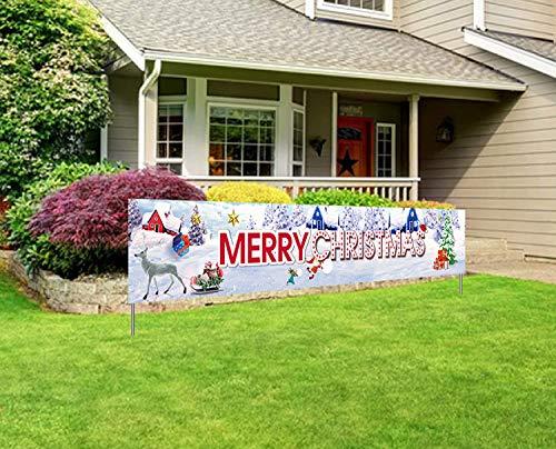 ITODA Weihnachten Deko Banner Weihnachtsdeko Lang Weihnachtsbanner Merry Christmas Flagge Hängedeko Tür Garten Weihnachtsschmuck Veranda Zeichen Gartendeko Dekoration Zaun Wand Laden Wandanhänger