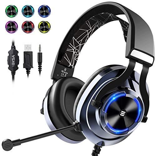 EKSA Gaming Headset PS4, 3,5mm Xbox One Headset mit Noise Cancelling Mikrofon, LED-Licht, Bass Surround Sound, 50mm Lautsprecher Treiber Kopfhörer für PC MAC Laptop IPad Smartphone (Blau)