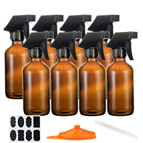 Glass Spray Bottle 8oz 8set, RUCKAE Spray Bottle for Cleaning Solutions,Amber Glass Spray Bottles with 3 Setting Sprayer,Refillable Container for Essential Oils,Plant Spray,Moisturizing Spray and More