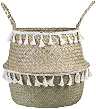 Clothes hamper Home Storage Foldable Natural Seagrass Woven Storage Basket Garden Flower Pot Laundry Basket Wicker Bellied...