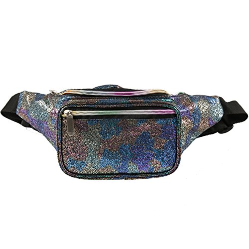 Neon Gravel Holographic Fanny Pack for Women & Girls - Cute Waist Bags with Adjustable Belt for Rave, Festival
