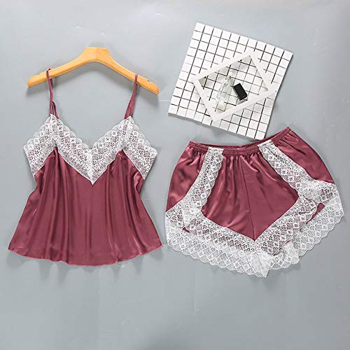 XUHRA pyjama voor de zomer, pyjama, van kant, pyjama, van glad satijn, voor dames, 2019 V, hals, spaghettidragers, nachtgoed, dun, zijde, pijama, dames