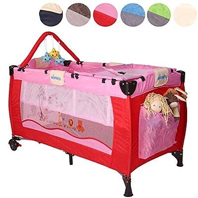 KIDUKU® Cuna de viaje portátil para bebés – Cama infantil para viajar con dos alturas para niños/bebés – 6 colores diferentes, compacta y con altura regulable