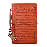 To My Granddaughter Classic Spiral Bound Leather Journal,Refillable,5″× 7″Writing Notebook Medieval Vintage Style 180 Page Travel Diary Art Sketchbook Gift for Girls,Blank Paper