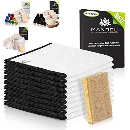 LÖWENKÖNIG® - MANDOU Edition 2021 - [9 STÜCK] Große Premium Putztücher [30x30cm] aus 100% Bambus ohne Mikrofaser + Kokos-Schwamm für Haushalt; Küche, Spiegel, Bad - Allzwecktücher