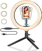 Ringlichtstatief, 10,2 inch instelbare kleurtemperatuur 3 lichtstanden Pise dimmen 120 lampen LED selfie-ring USB oplaadba...