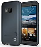 ECOZ [SHIELDX] Protective Tough 3 Layers Armor Rugged Case Cover with Build-in Stand for HTC One M9 (Charcoal)