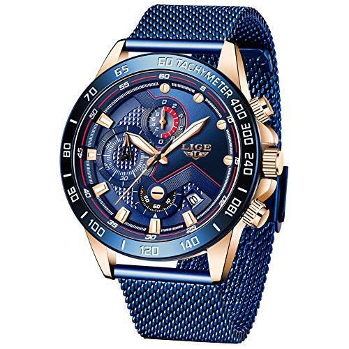 LIGE Herren Uhren wasserdichte Edelstahl Analoge Quarz Armbanduhr Männer Edelstahl Herren Sport Militäruhr Chronograph mit Milanaise Armband