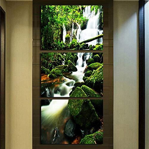 YK-GVOR Cuadro Lienzo 3 panelesImpresiones en HD Imágenes Sala de Estar Decoración para el hogar Carteles 3 Piezas Virgen Bosque Cascada Paisaje Pinturas en Lienzo Arte de la Pared Marco