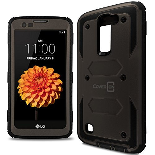 LG Treasure Case, CoverON [Tank Series] Tough Hybrid Hard Armor Protective Phone Cover Case for LG Treasure - Gunmetal Gray & Black