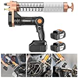 Hailong Electrical Grease Gun, Heavy Duty 12000 PSI Compressor Grease Guns, Metal Extension, Professional Coupler and Sharp Nozzle (Color : Suitable barreled oil, Size : 2 x battery)