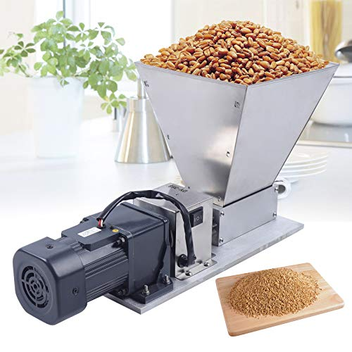 Electric Grain Mill Barley Grinder Malt Crusher Roller Grain Mill Grain Grinder Home Brew Mill Food Grade Stainless Steel Cereal Beans Mill+4x Hopper Dy-368 110V 40W (US STOCK)