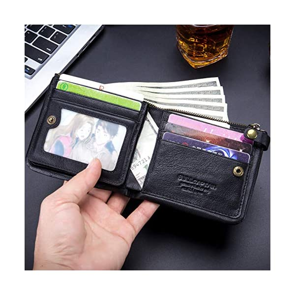 BULLCAPTAIN RFID Protected Mens Flip Wallets for Men with Zipper Leather Bifold Wallet 13 Card Slots QB58 2