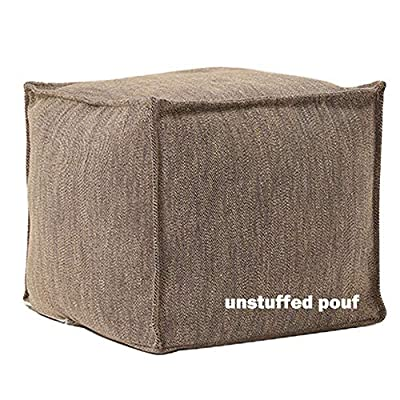 "idee-home Unstuffed Pouf Cover, Storage Bean Bag Cubes, Ottoman Pouf Foot Rest Footstool, Solid Square Pouf, 17.7""x17.7""x15.7"", ONLY Cover"