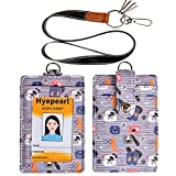 ID Badge Holder PU Leather ID Card Wallet with Lanyard with 1 Clear ID Display Window, 2 Credit Card Slots, 2 Key Chains and a Detachable Neck Lanyard Strap, Cute Pattern for Women Kids Girls (Gray)